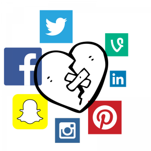social media with broken heart