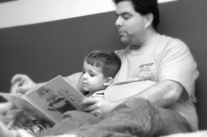 father son reading