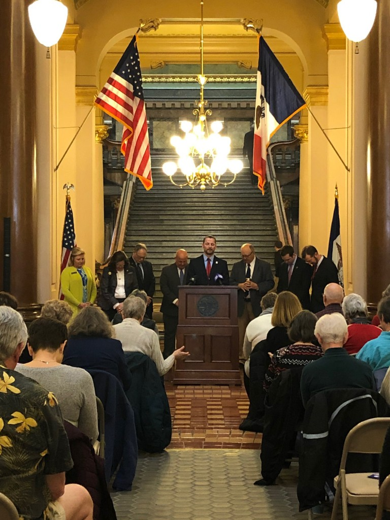 Pastor A.J. Potter expresses gratitude and offers up a heartfelt prayer for the faithful service and dedication of the pro-life legislators – pictured from left to right Representative Shannon Lundgren, Representative Sandy Salmon, Senator Dennis Guth, Senator Jason Schultz (LCMS), Pastor A. J. Potter, Senator Mark Segebart (LCMS), Senator Zach Whiting, Chuck Hurley of The Family Leader.
